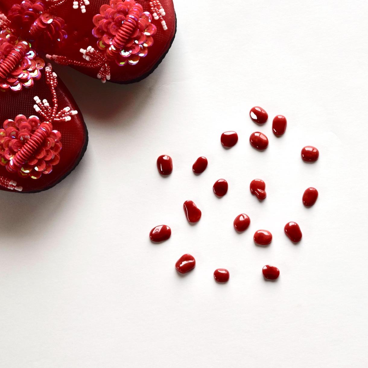 赤珊瑚のピアスとイヤリング