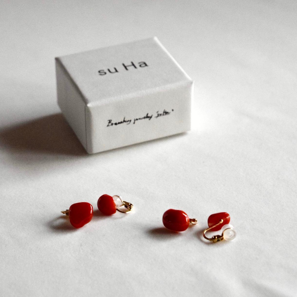赤珊瑚のイヤリング